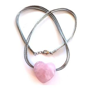necklace rose quartz heart on silver cord